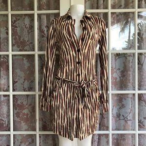 DVF Feather Print Long Sleeve Silk Dress 4